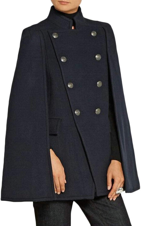 Women's Winter Wool Blend Double Breasted Pea Coat Poncho Cloak