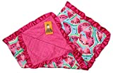 Dear Baby Gear Baby Blankets, Watermelon Watercolor, Hot Pink Minky, 32 inches by 32 inches