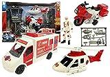 BSD Juego de rol, Juego de Vehículos Rescate, Set de Ambulancia, Motocicleta de Rescate y Helicóptero, Figura de Paramédico con Accesorios