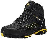 LARNMERN PLUS Zapatos de Seguridad Hombre S1P Botas de Seguridad Respirable Ligero Comodo SRC Antideslizante Antiestático Calzado de Seguridad Trabajo Zapatillas Seguridad(Negro Amarillo,41EU)