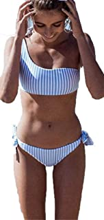 Bikini Mujer Moda Conjuntos De Bikini Rayas Talle Alto Retro Brasileños Mujer Sexy Traje De Baño Cuello Halter Strapless Off Shoulder Push-Up Bikini Acolchado Bra