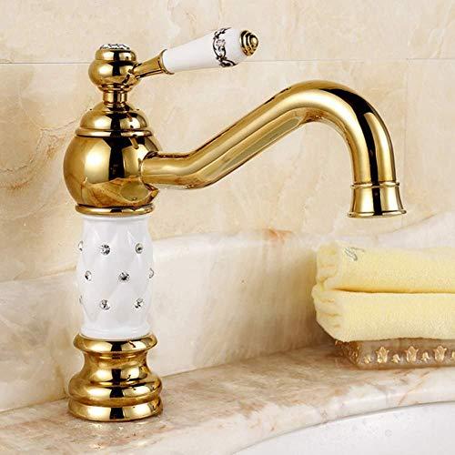 Kraan keukenkraan luxe diamant gouden vergulde messing kranen badkamer wastafel mixer enkele handvat torneira goud warm en koud kranen