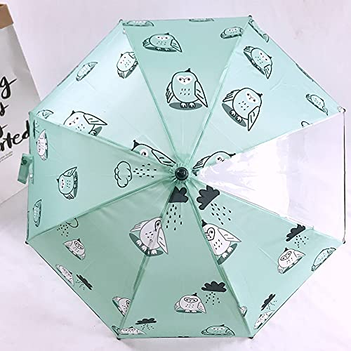 CellLucky Sombrilla de 6 Colores para niños, 8 Huesos, Paraguas nórdico con Dibujos Animados Bonitos, Paraguas Impermeable(Blaugrüne Eule)