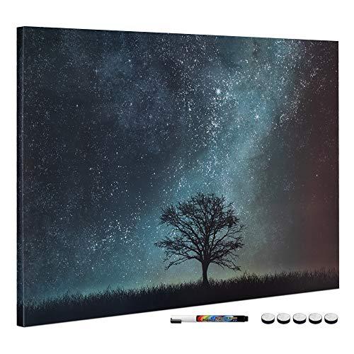 Navaris Tablero de Notas magnético - Pizarra con diseño de árbol y Noche Estrellada - Pizarra magnética con Marcador Negro y 5 imanes - 90 x 60 CM