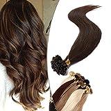 14'(35cm) SEGO Extensiones Queratina Pelo Natural sin Clip [0.8g*50 Mechas] #4 Castaño Medio U Tip Keratina Cabello Humano Balayage Remy Human Hair (40g)