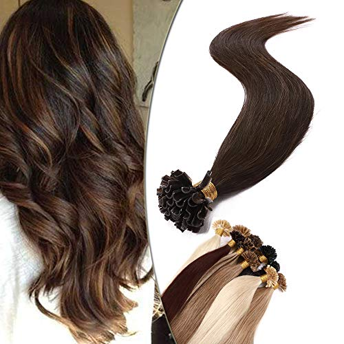"""14""""(35cm) SEGO Extensiones Queratina Pelo Natural sin Clip [0.8g*50 Mechas] #4 Castaño Medio U Tip Keratina Cabello Humano Balayage Remy Human Hair (40g)"""