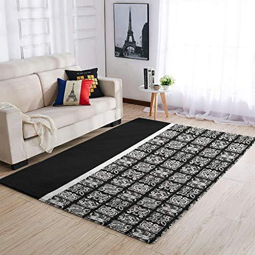 AXGM Alfombra vikinga negra y blanca con tatuaje vikingo moderna para salón, dormitorio, pasillo, color blanco, 50 x 80 cm