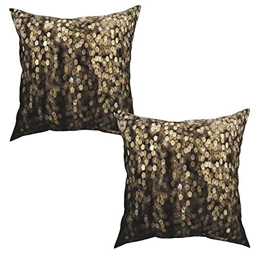 Pack de 2 Fundas de Almohada,Moda Golden Dots Lentejuelas Brillantes Dorado y Negro Bling Light,Funda de Cojín Cuadrado de Protectora de Almohada para Sofá Cama Decoración del Hogar (50x50cm) x2