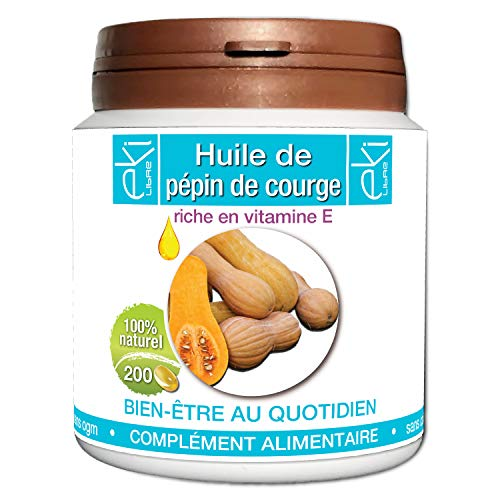 Huile de pépin de courge | 200 capsules | Bien Être Quotidien | 500 mg dosage 100% naturel sans additif et non comprimé | EKI LIBRE