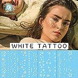 PMSMT 2020 Nuevo Tatuaje Temporal de Cara de Flor Blanca Sexy pecas Maquillaje Pegatinas...