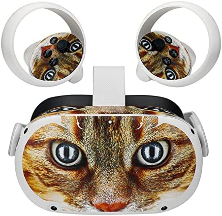VR Headset Decor Skin and Controller Skin Stickers for Oculus Quest 2 Accessories (Cat)