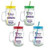 Lote de 4 jarras taza de cristal con caña PERSONALIZADA con evento nombre y fecha. Jarras con Frases, tazas originales para Detalles, recuerdos y regalos de Comuniones y eventos