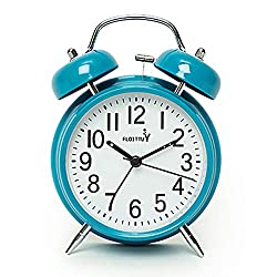 FLOITTUY [Loud Alarm for Deep Sleepers} 4'' Twin Bell Alarm Clock with Backlight for Bedroom and Home Decoration(Blue)