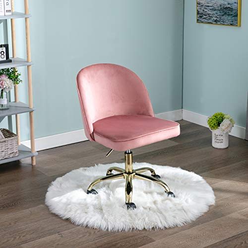 Wahson Bürostuhl aus Samt ohne Armlehnen, 360° drehbar, Computerstuhl, höhenverstellbar, Schreibtischstuhl für Heimbüro, Metall, Samt, Schwamm, Holz., rose, 704S