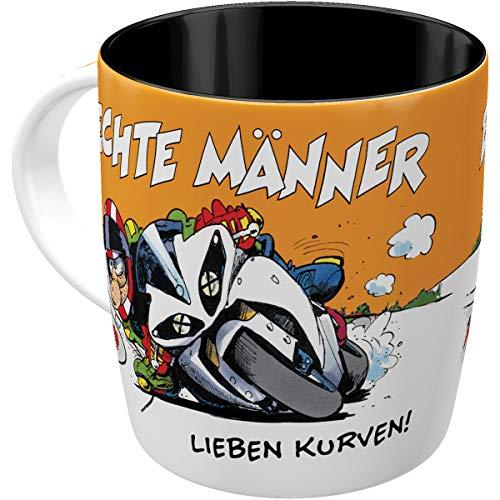 Nostalgic-Art 43067 Retro Kaffee-Becher MOTOmania – Männer & Kurven – Geschenk für Motorradfahrer, Lustige große Tasse mit Spruch
