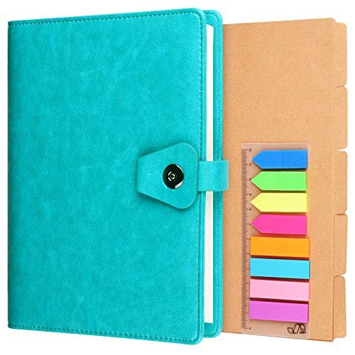 A5 Binder-Tagebuch, nachfüllbar, 6 Ringe, Organizer, Planer, Leder, Business, Schreibbuch, liniert, Hardcover, Tagebuch, Notizbuch mit Trennwand und Index-Aufklebern, blau