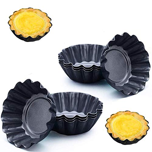 Cupcake Muffin Form - YUESEN 10 Stück Mini Tarteform Eierkuchenform Torteletts Törtchenformen DIY verdickte Ei Torte Form Runde Mini geriffelte Torte Dosen