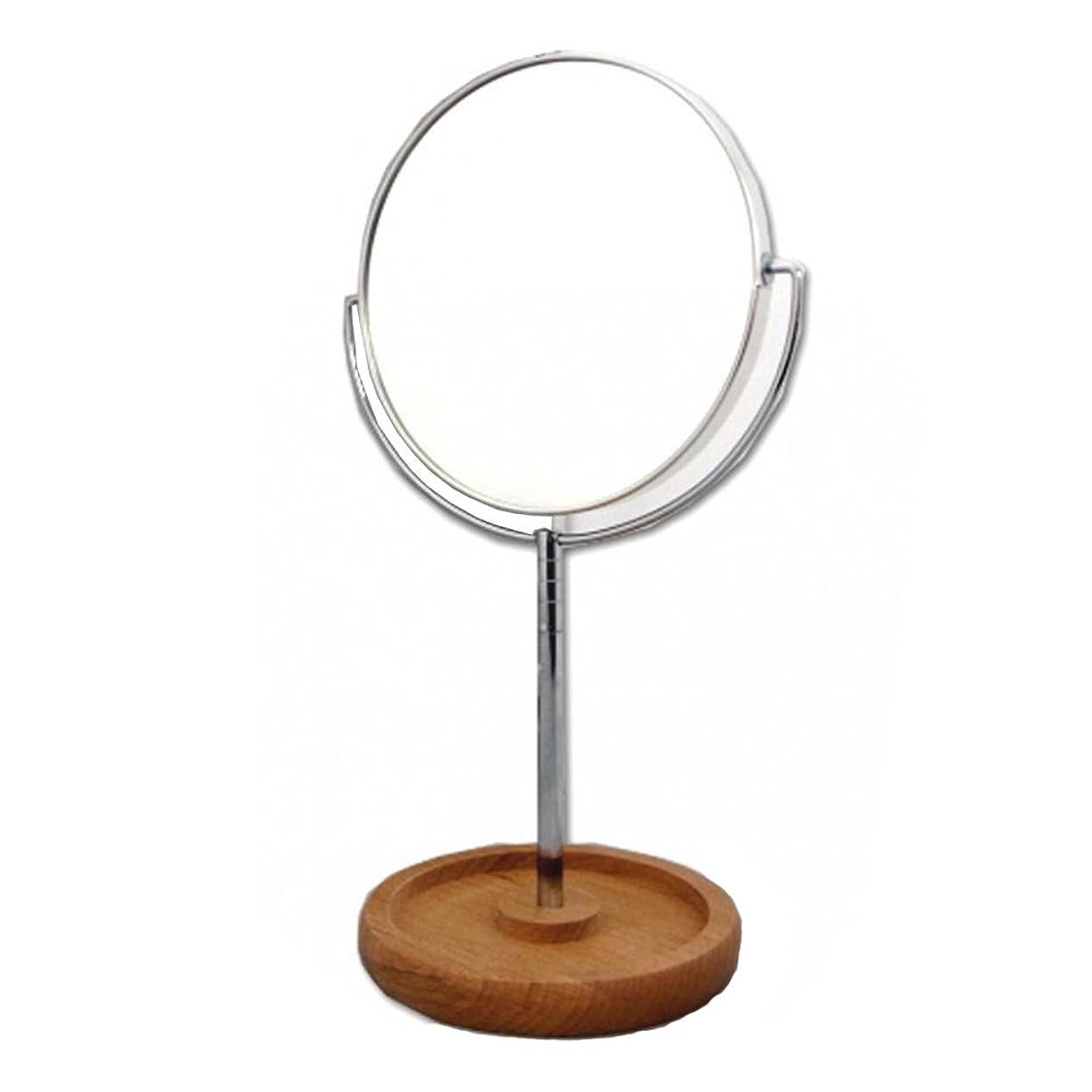 十一若者生産的メリー ロングステム 天然木製トレイ 片面約2倍 拡大鏡付両面ミラー 8860