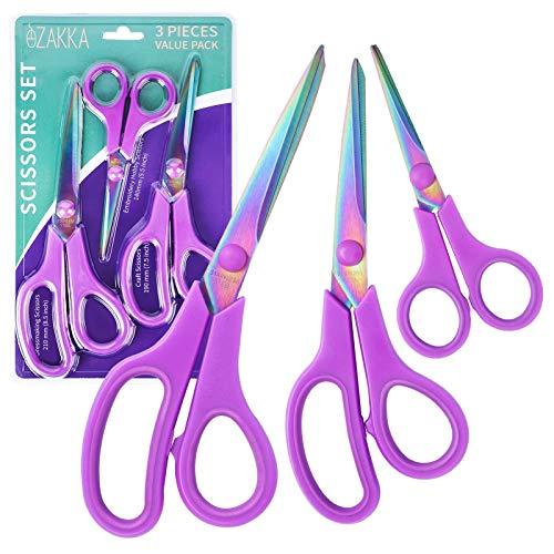eZAKKA Scissors, Premium Titanium Craft Scissors Soft Grip Sewing Tailor Scissors Set for Arts, Home, Office
