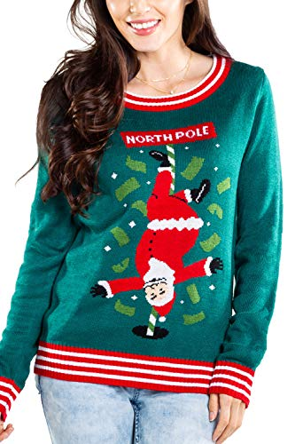 Women's North Pole Dancer Sweater - Santa Stripper Ugly Christmas Sweater