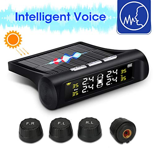 Jansite TPMS Smart Voice Sistema de monitoreo de presión de neumáticos Solar Inalámbrico para automóvil con 4 sensores externos Impermeables Monitor en Tiempo Real Presión de Temperatura 0-62 PSI