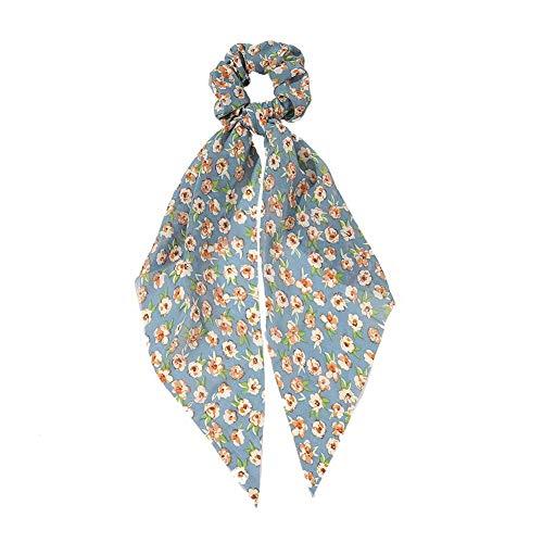 1 chouchou élastique pour cheveux - En mousseline de soie - Pour femme et fille, bleu, 9 cm
