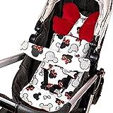Sitzauflage Kinderwagen Einlage - Buggy Auflage Sitzeinlage für Kindersitz atmungsaktiv universal Set mit Kopfstütze Gürtelschutz 75x35 cm (Rot – Mäuschen)