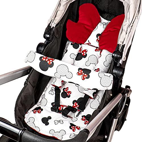 Cojín asiento cojín cochecito - cojín buggy cojín asiento para asiento infantil transpirable conjunto universal con protección cinturón reposacabezas 75x35 cm (Rojo - Ratoncito)
