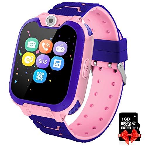 PTHTECHUS Orologio Intelligente Bambini con 7 Giochi - Musica MP3 Smartwatch Studente, Orologio Intelligente Bambini con Telefono Allarme Camera, Bambini Smartwatch Regali (Rosa X6)