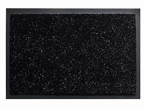Fußmatte Schmutzfang-Matte FLASH – Schwarz mit Glitzer-Fäden, 50 x 80 cm, Waschbare, Rutschfeste, Pflegeleichte Eingangsmatte, Sauberlauf-Matte, Türvorleger für Innen & Außen