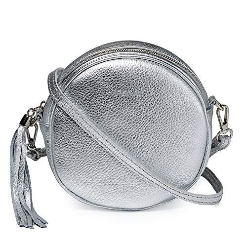 Parubi ronde handtas voor dames met schouderriem, leer, korrelgrootte dollar, made in Italy, model Dora, kleine handtas met franjes, schoudertas voor dames, meisjes, elegant
