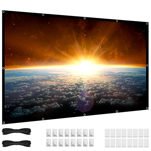 100 inch Projector Screen, 16:9 HD 4K Foldable No Crease Portable Video Projection Movie Screen Grommets for Outdoor Indoor Home Theater
