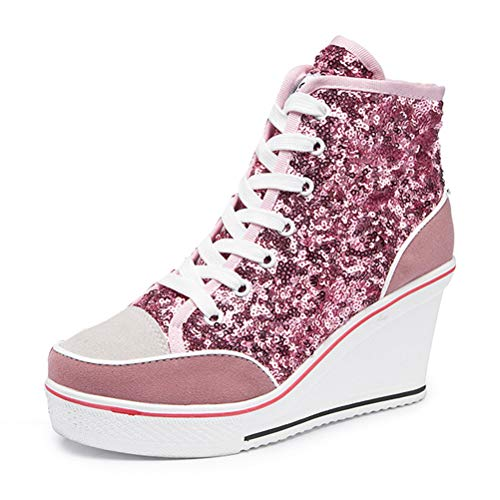 kekafu Women's Sneaker Wedge Suede Sequins Platform Heels Pump Lace Up High Top Shoes