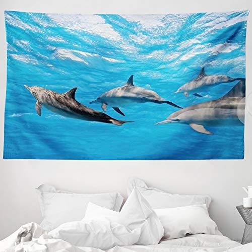 ABAKUHAUS Delphin Wandteppich & Tagesdecke, Glücklich schwimmende Fische, aus Weiches Mikrofaser Stoff Waschbar mit Klaren Farben, 230 x 140 cm, Blau grau