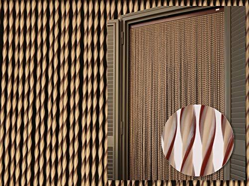 PVC-Türvorhänge Modell Capri – Aluminiumträger - Made in Italy - Eichmaß (90X200/100X220/120X230/130X240/150X250) – Fliegenvorhang (90x200, Elfenbein und braun)