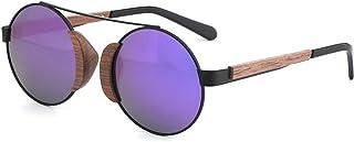 Fashion Black Walnut Frame UV400 Green Purple Round Ladies Sunglasses Bamboo Wood Glasses Polarized Sunglasses Retro (Color : Purple)