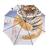 Cool Tiger Snow Travel Paraguas plegable portátil compacto ligero diseño automático y alta resistencia al viento