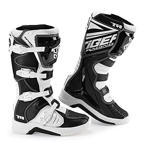 Sebasty Botas de Motocross de Fibra de Alta Fibra,Botas de Motocicleta Botas Botas de Carreras de Motociclismo Botas a Motor Zapatos para Hombres Zapatos Todoterreno Anti-Caída,39