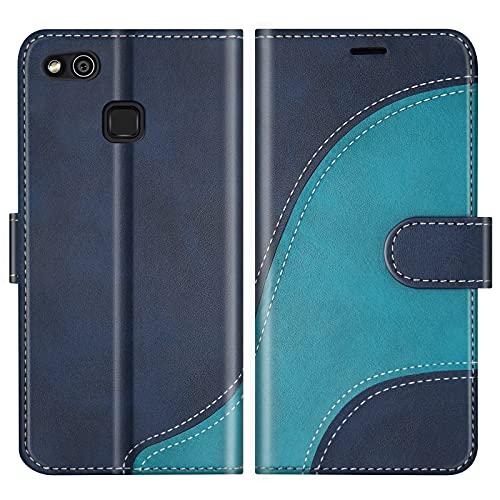 BoxTii Funda para Huawei P10 Lite, Funda de PU Cuero para Huawei P10 Lite, Magnético Carcasa Libro con Ranuras para Tarjetas, Azul