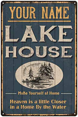 Lake House Sign Cabin Home Decor Life Rules Personalized Welcome Theme For Decorations Fishing Vintage Wall Accessories Gifts Home On Time Boat Items Art Relax Gift 12 x 18 Matte Metal 112180038001