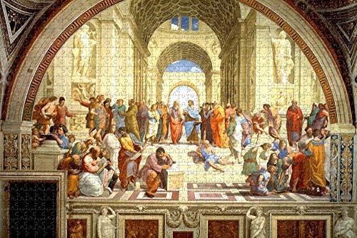 Rompecabezas para Adultos, Escuela de Atenas, Grecia, Rompecabezas de 1000 Piezas, Regalo de Recuerdo de Viaje de Madera