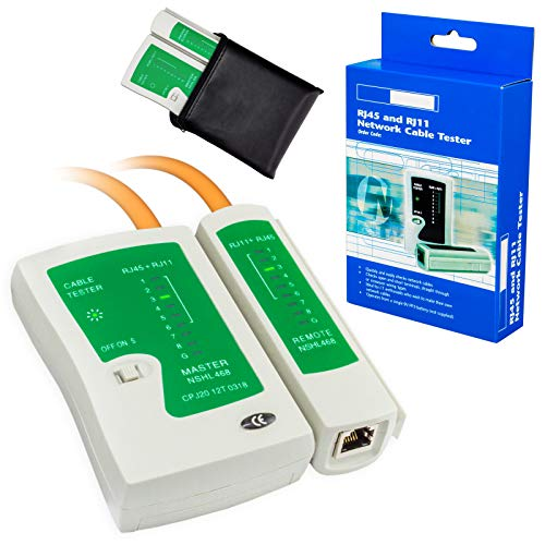 HB-DIGITAL Netzwerk Kabeltester RJ45 / RJ11 LAN Network Cable Tester Netzwerkkabeltester für Ethernet & Telefon-Kabel Prüfgerät Leitungstester prüft Kabelbelegung Kurzschluss Crossover Patchkabel