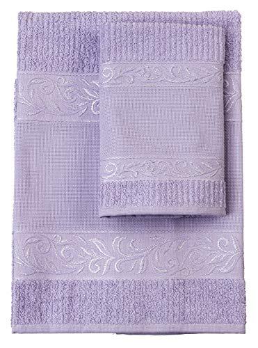 FILET (FIM2A) Juego de toallas con invitado, 100% rizo de algodón, color liso, con encarte de tela Aida para bordar, color lila, AMVR04