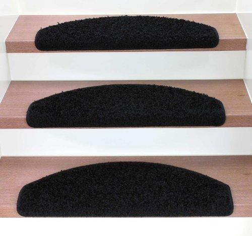 Kettelservice-Metzker Stufenmatten Treppenmatten Shaggy - Halbrund 10 Aktuelle Farben im SparSet 15 Stck. incl. Fleckentferner (Schwarz)