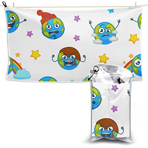 Earth Planet Expressing Emotions Emojis Travelers Towels Toalla de microfibra para mujer Toalla de microfibra Cabello Toalla de viaje Baño 27.5 '' X 51 '' (70 X 130cm) mejor para gimnasio Campamento