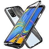 Hülle für Xiaomi Redmi Note 10 / Redmi Note 10S, Magnetische Adsorption Handyhülle 360 Grad Schutz Aluminiumrahmen mit Gehärtetes Glas, Starke Magneten Stoßfest Metall Flip Hülle Cover - schwarz