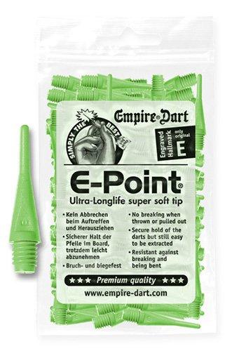 Empire Dart Softdartspitzen, E-Point, 2BA, kurz, neongrün, 100 Stück, 22222