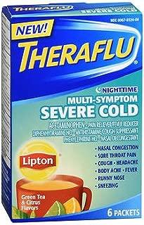 Theraflu Nighttime Multi-Symptom Severe Cold Packets Lipton Green Tea & Citrus Flavors - 6 ct, Pack of 6