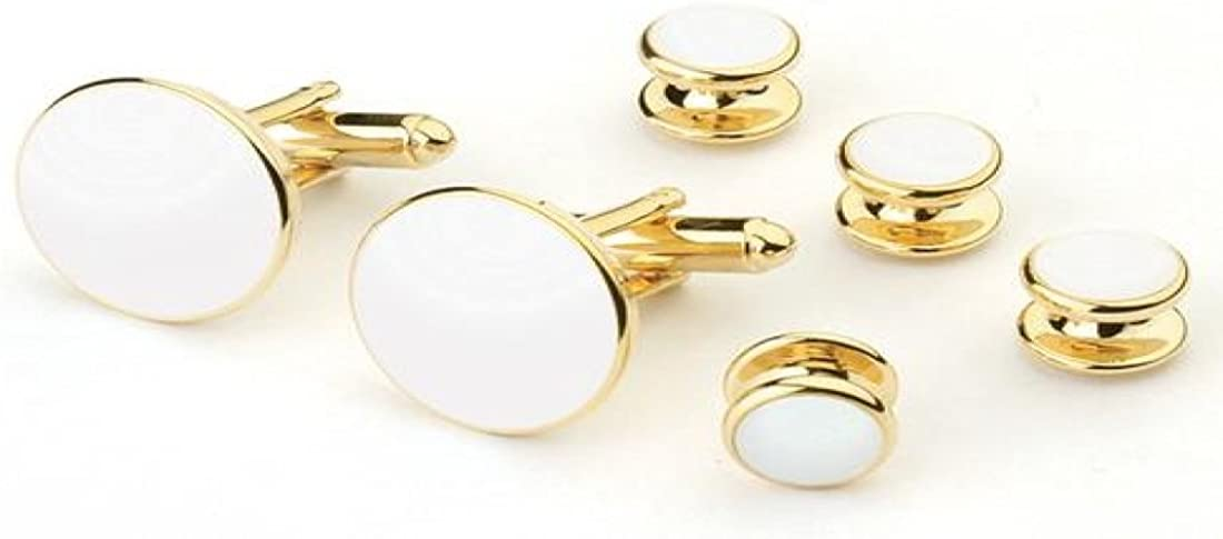 White Tuxedo Studs and Cufflinks Gold Trim