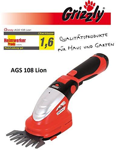 Akku Gras & Strauchschere AGS 108 Lion 10,8 V 2,0Ah Samsung Li-Ionen Wechselakku, Metallgetriebe, Laufzeit über 100 Minuten, Messerschnellwechselsystem, Set mit Strauchmesser 20cm und Grasmesser 10cm